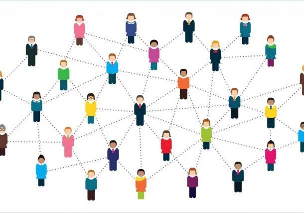Illustration Menschen in Netzwerk verbunden