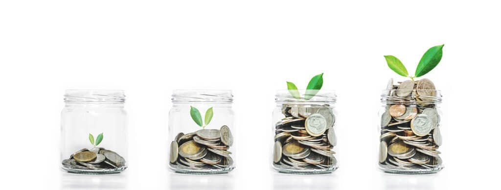 Geld wächst heran in Einmachgläsern