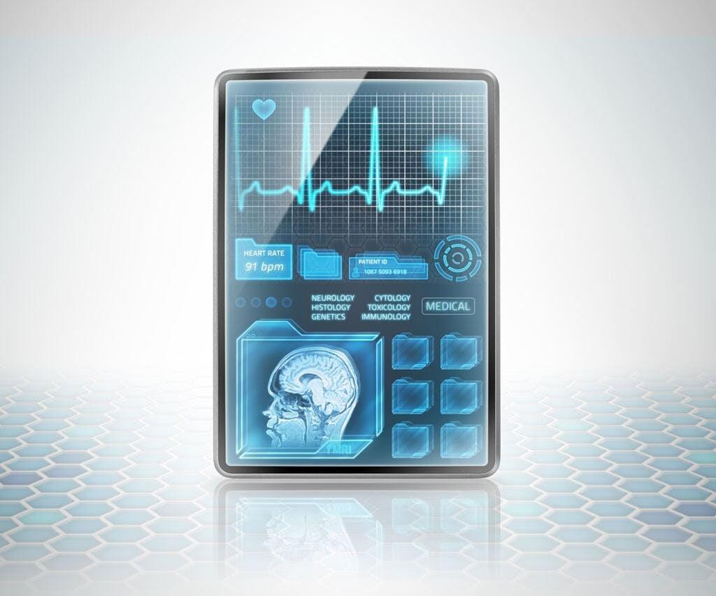 Futuristisches Tablet mit Gesundheitsinformationen